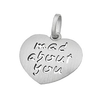 Solid heart pendant charms, heart 'mad about you' love rhodium-plated Silver 925