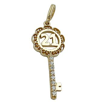 Keyring pendants gold 375 pendant, key 21-9 KT GOLD