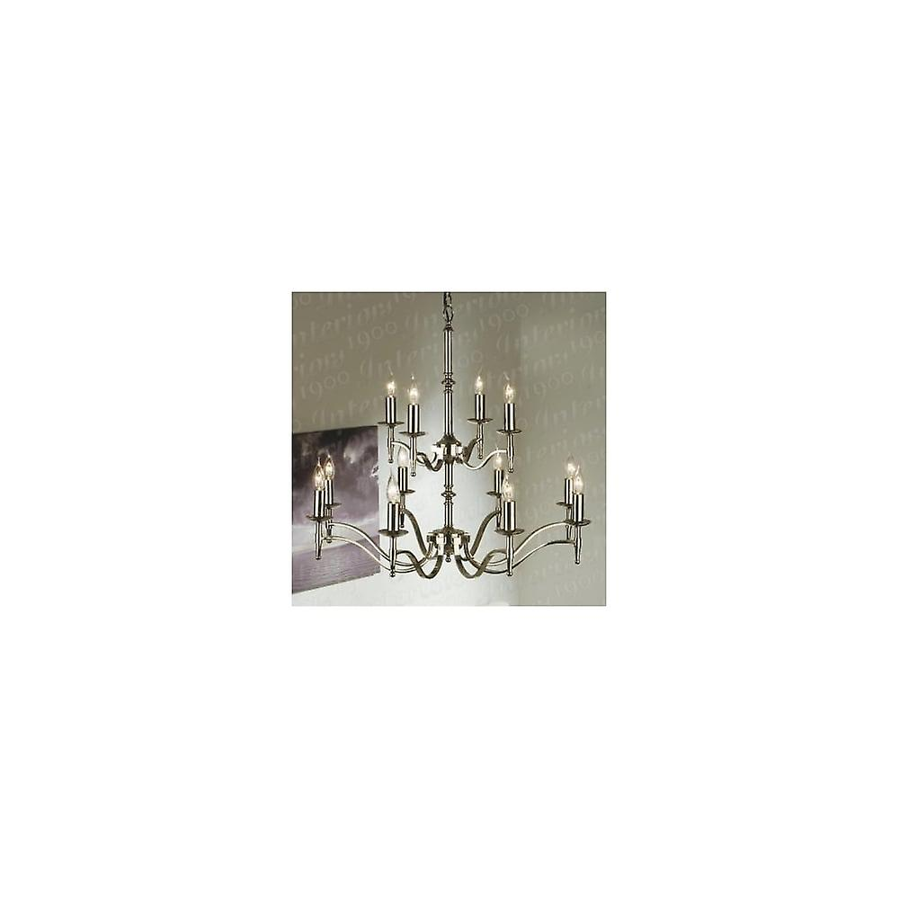 Interiors 1900 Stanford Polished Nickel Chandelier, 12 Light