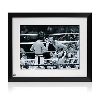 Framed Sugar Ray Leonard Signed Boxing Photograph: Fighting Roberto Duran