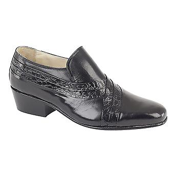 Mens Leather Slip On Cuban Heel Leather Sole Formal Dress Shoes