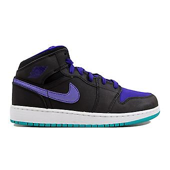 Nike Air Jordan I 1 Mid Black/Black-White-Grape Ice 554725-015 Grade-School
