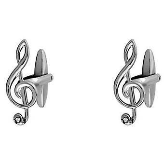 David Van Hagen Treble Clef Musical Note Crystal Cufflinks - Silver