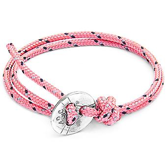 Anchor and Crew Lerwick Silver and Rope Bracelet - Pink
