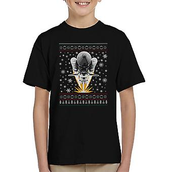 NASA Shuttle Launch Christmas Knit Pattern Kid's T-Shirt