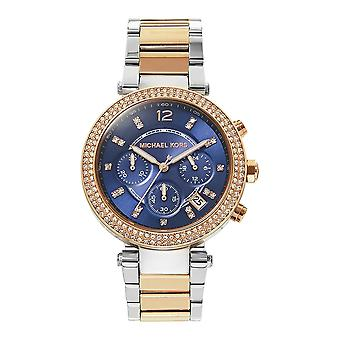 Michael Kors Watches Mk6141 Parker Two Tone Rose Gold And Silver Chronograph Ladies Watch