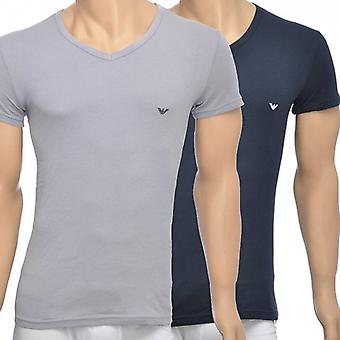 Emporio Armani 2er-Pack Stretch-Baumwolle v-neck T-shirt, grau/Marine, Medium