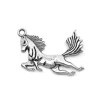 3 x Antique Silver Tibetan 40mm Flying Horse Pegasus Charm/Pendant ZX00880