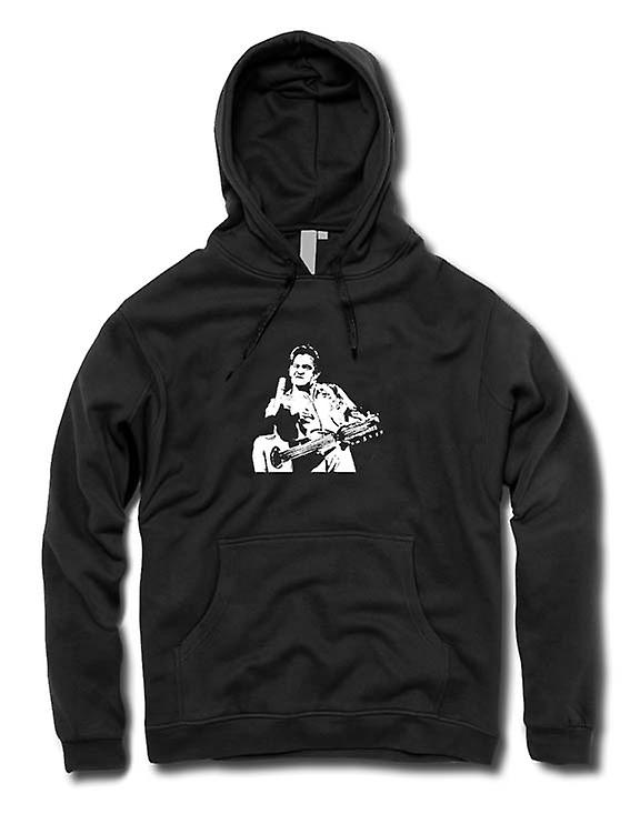 Mens Hoodie - Johnny Cash Finger - BW - Pop Art