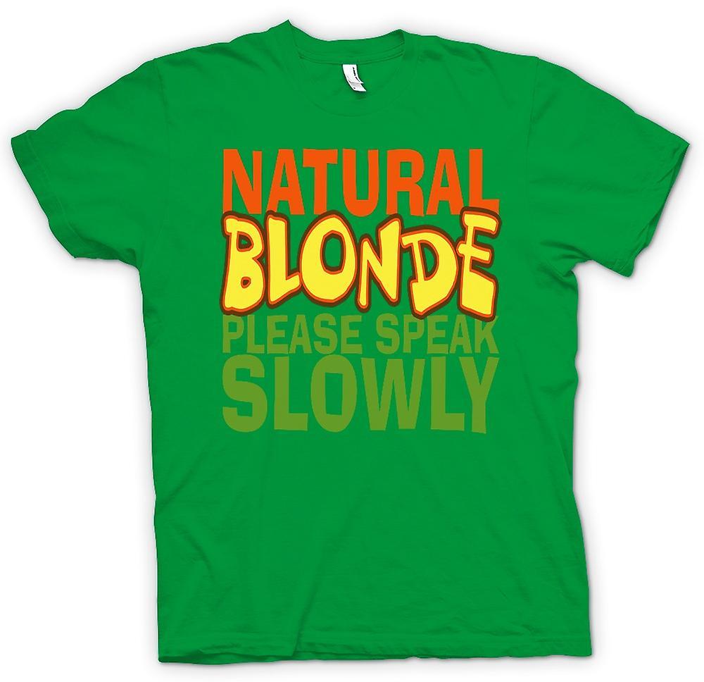 Mens t-skjorte - naturlig blondine snakke sakte - tilbud