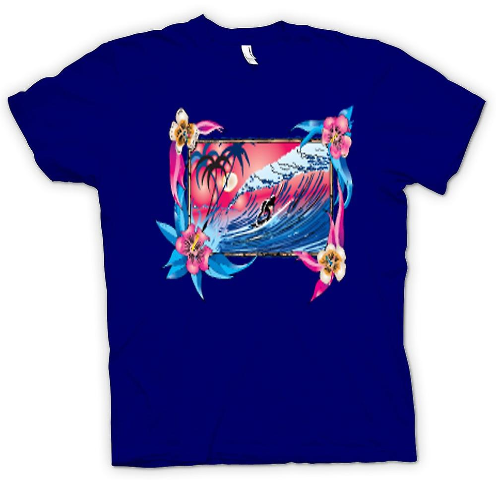 Hommes T-shirt - Vague Surfer Riding With Flowers
