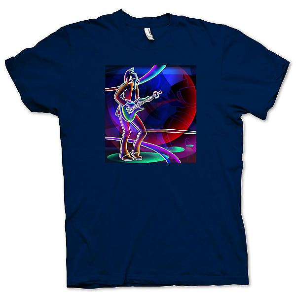 Mens T-shirt-Neon-Rock-Gitarrist