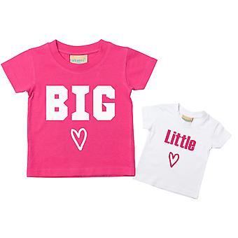 Gran hermana poco hermana camiseta Set corazón