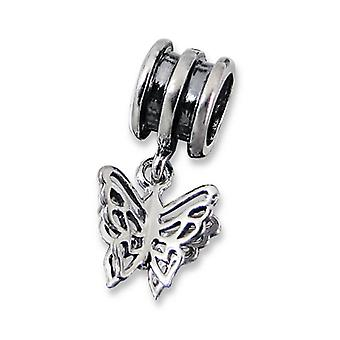 Hanging Butterfly - 925 Sterling Silver Plain Beads - W10613X