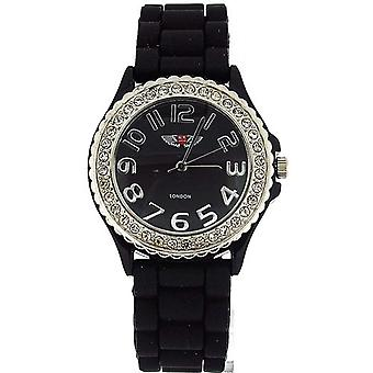 Prince London Crystal Embedded Bezel Black Dial Ladies Sports Watch 27073MBLK