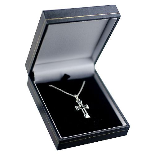 Silver 21x12mm Fancy pierced Cross with a rolo Chain 14 inches Only Suitable for Children