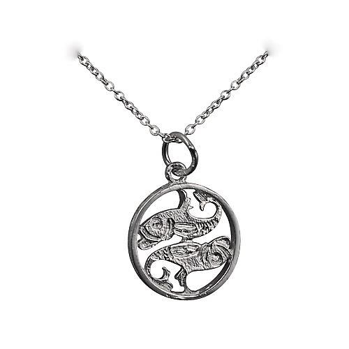 Silver 11mm pierced Pisces Zodiac Pendant with rolo chain