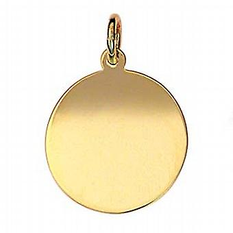 9ct Yellow Gold plain heavy round disc