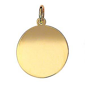 9ct Gold 18mm plain round Disc