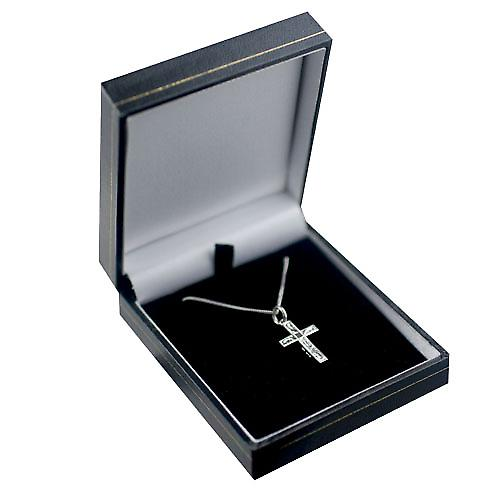 9ct White Gold 20x12mm hand engraved solid block Cross with a curb Chain 16 inches Only Suitable for Children