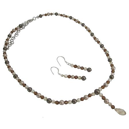 Swarovski Briolettes Drop Jewelry Brown Pearls Crystals Necklace Set