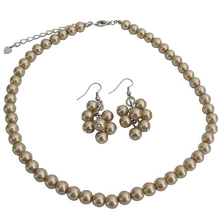 Formal Bronze Faux Pearl Bridesmaid Jewelry At Reasonable Price