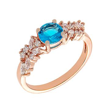 Bertha Juliet Collection Women's 18k Rose Gold Plated Light Blue Cluster Fashion Ring Size 5
