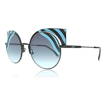 Fendi FF0215S 0LB Matte Turquoise Black FF0215S Round Sunglasses Lens Category 2 Size 53mm