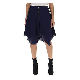انظر تنورة الحرير الأزرق Chloé