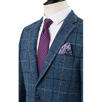 Harris Tweed Mens Blue/Black Check Tweed Jacket Regular Fit 100% Wool