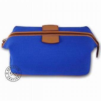 Luxury Blue Canvas and Leather Wash Bag