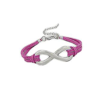 Bracelet in pink Suedette infinite and Rhodium plate