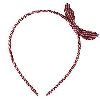 Molly & Rose Girls Alice Bow Headband Gingham Red