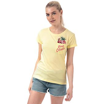 Womens Brave Soul Tropical Embroidered T-Shirt In Lemonade