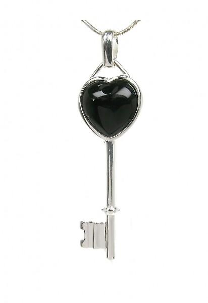 Cavendish French Silver and Black Agate heart key pendant