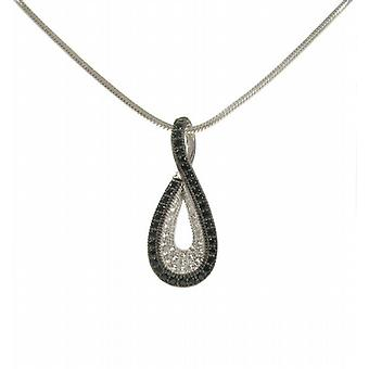 Cavendish French Silver and CZ Twisted Teardrop Pendant