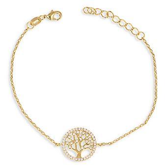 Guldpläterad arm band livets träd med zirkonium zirconia 18cm