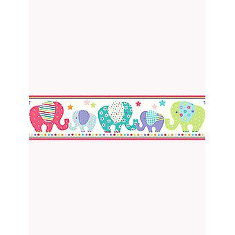 Patchwork Elephant Wallpaper Border - Price Right Home A13001