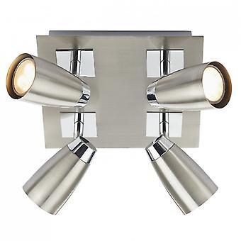 Loft 4 licht laag energie vierkante plaat Satin Chrome / gepolijst chroom