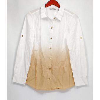 Isaac Mizrahi Live! Women's Top Dip Dye Button Front Woven White A265349
