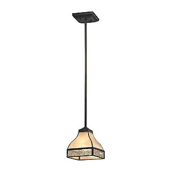 Santa fe 1-light mini pendant in tiffany bronze with mica and mercury glass elk lighting