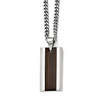 Stainless Steel Polished Black Wood Inlay Enameled Necklace - 20 Inch