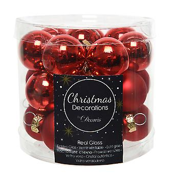 24 2.5cm Red Glass Christmas Tree Bauble Decorations | Christmas Tree Decoration