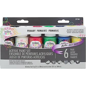 Testors Craft Acrylic Paint Set 6/Pkg-Primary Matte 297580
