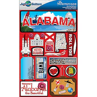 Jet Set Stickers dimensions 4,5 « X 6 » feuille Alabama Jst00 0