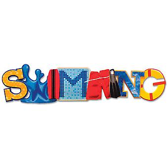 Swim Team Stacked Statement 3 D Title Sticker Swimming Kf00474