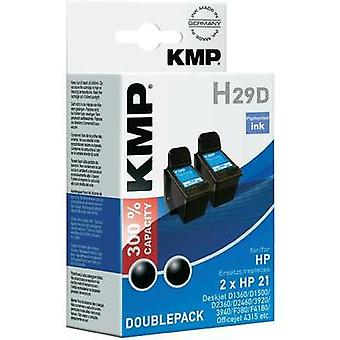 KMP Ink replaced HP 21 Compatible Pack of 2 Black