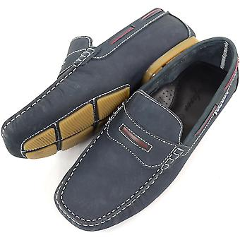 Men's Leather Casual / Formal Slip On Boat / Deck Loafer / Moccasin Shoes - Navy - UK 11