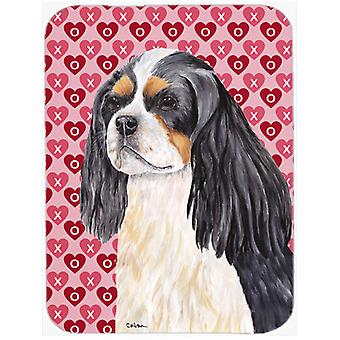 Cavalier Spaniel Hearts Love and Valentine's Day Glass Cutting Board Large