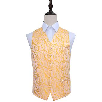 Gold Passion Floral Patterned Wedding Waistcoat
